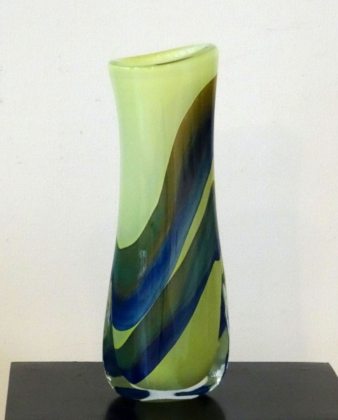 Glass vase. Light green with blue-green lines, h 43 cm