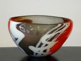 Glass vase. Gray-red with white lines. 16x30x22 cm