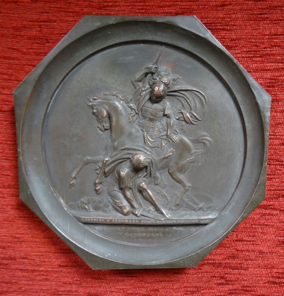Medallion - Battle of Brienne in 1816. Model author Fedor Petrovich Tolstoy (1783-1873), copper, 18.