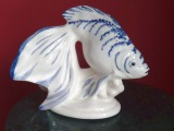 PFF Riga - Fish. Model author is M. Baromidze, faience, 1950-60s, painting on glaze, h 13 cm