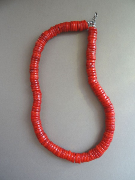 Coral necklace. Painted coral