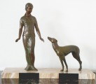 Lady with dog. Metal, marble, 37,5x45,5x14 cm