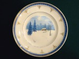 "RPF - Wall Dish ""Landscape with a Cottage"". Porcelain, diam. 17.5 cm"