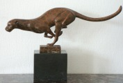 Пантера - J.B. Deposee Bronze garanti Paris, мрамор, бронза,19,5x31x7,5 см