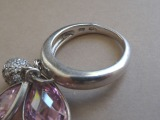 Silver ring with 2 pink quartz and Swarovski ball. 11 g.
