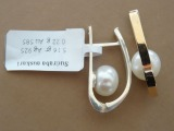 Silver earrings with pearls and gold, gold - 0.22 g, silver - 5.16 g.
