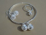 Silver jewelry set. Bracelet, earrings, ring
