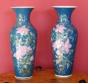 C.P. & Co Mehun - painted porcelain vases with pink flowers