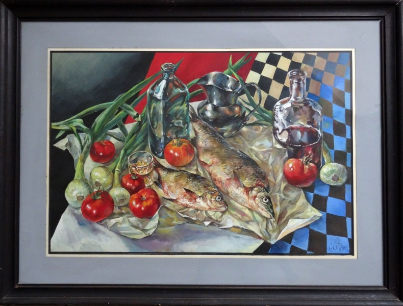 Still life with fish and tomatoes
