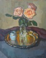 Still life with roses on a tray