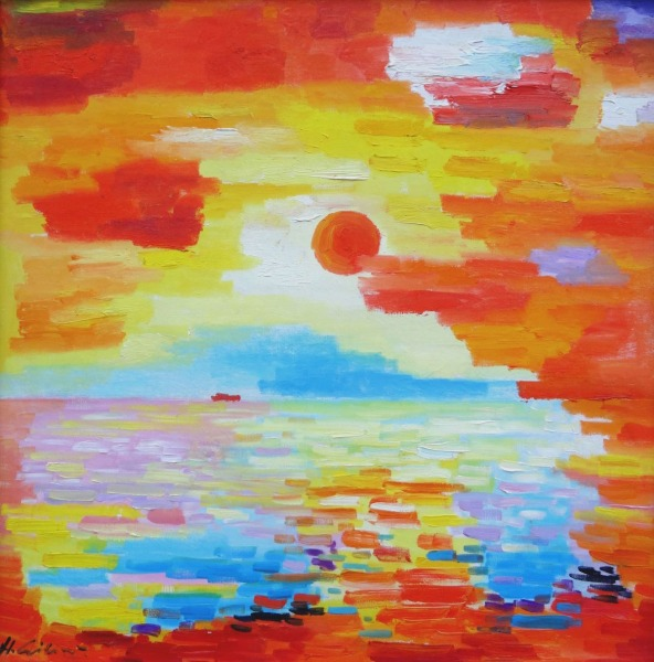 The sea with red sun