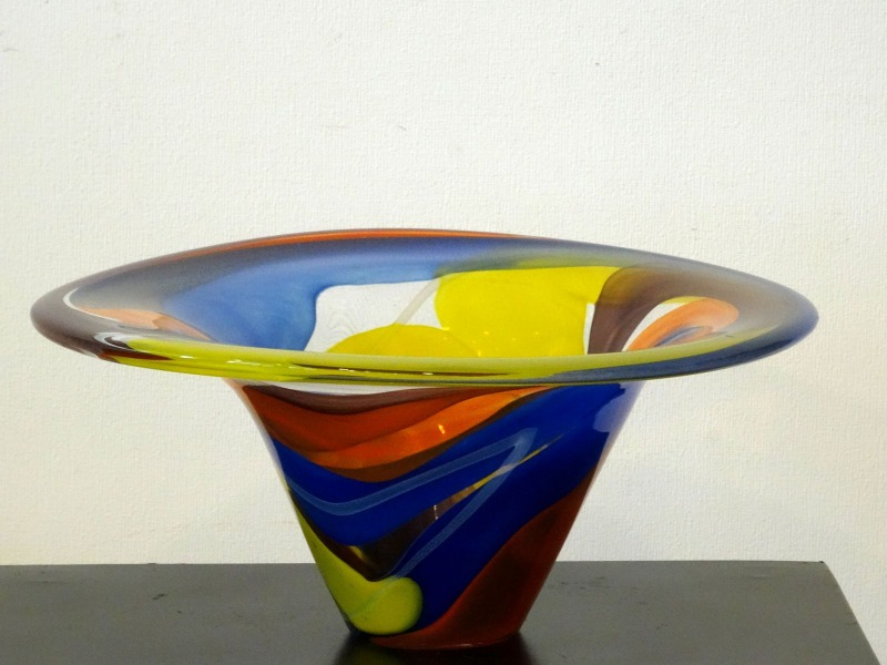 Glass vase. Blue-orange-yellow, 15.5x36 cm