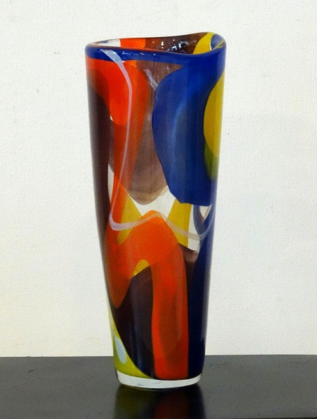 Glass vase. Blue-orange-yellow, x36 cm
