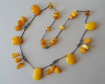 Amber necklace, 71.75 gr., silver, purity 875