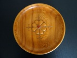 Decorative wooden wall plate. Latvia, ash tree, amber, 1970s, diam. 33.5 cm; thickness 6 cm