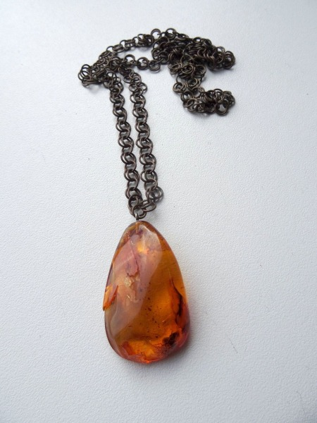 Amber pendant on chain