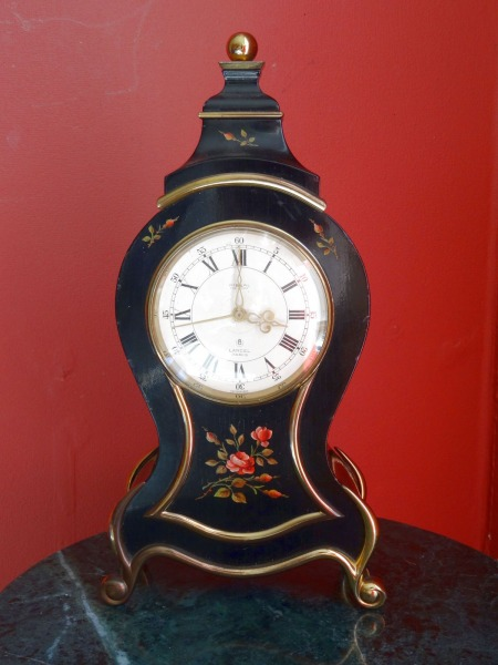 Table clock with alarm clock. Wood, bronze, inlaid pattern h 23.5 cm