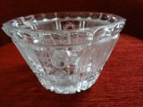 Crystal bowl with Auseklis ornaments. Latvia, glass, grinding, h 9.5 cm, Ø 16 cm, 1930s