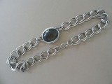 Necklace with smoky topaz. Chrome steel, length 44 cm, topaz size 3x2,3 cm