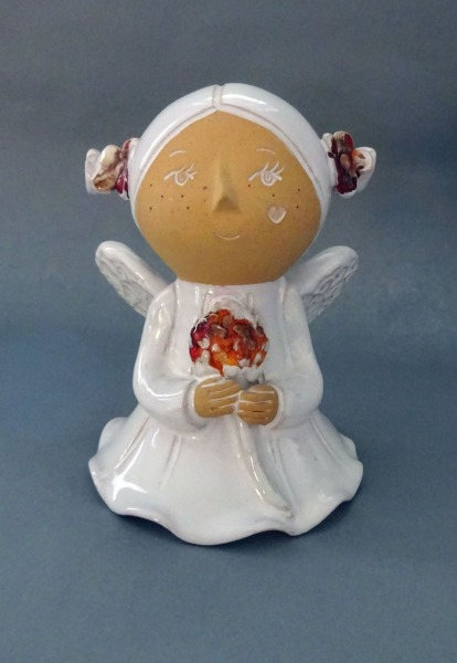 Clay glazed figure Angel, h 15 cm