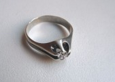 Silver ring with moissanit, size 18 mm