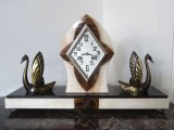 Fireplace Clock with swans. France, Art Deco, 1930s, marble, h 31x51x14 cm