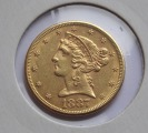 1887 $5 Five Dollar Liberty Half Eagle Gold Coin, d 21.6mm., 8.36gr.