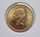 1966 Gold Sovereign - Elizabeth II Young Head, d 22,05 mm., 7,98gr. Fineness: 916.7