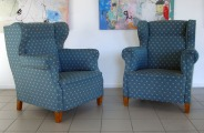 Club chairs 2.pcs. Art Deco 20th century beginning, fabric, wood, 101x86x90 cm with a defects