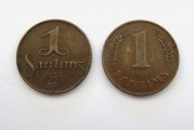 1 santims 1935, 1937, 2 pcs.
