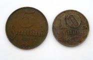 5 and 10 santims 1922, 2 pcs.