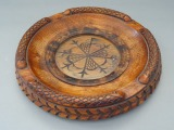 Wooden ashtray with glass, d 17 cm