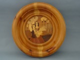 Wooden plate with a folk motif d 33.5 cm