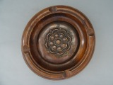 Ashtray 1930s, wood with copper decor, d 13 cm