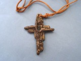 Cross with leather cord, bronze, author's work