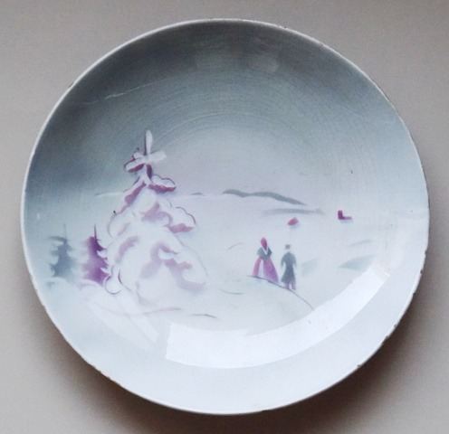Decorative plate. To church in winter