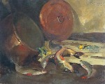 Still life with fish and saucepan